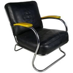 Art Deco Chrome and Leather K E M Webber Lounge Chair, circa 1930s