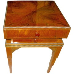 Art Deco Stepped Table with Storage and Drawers