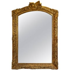 18th Century French Régence Period Giltwood Carved Mirror in the Baroque Style