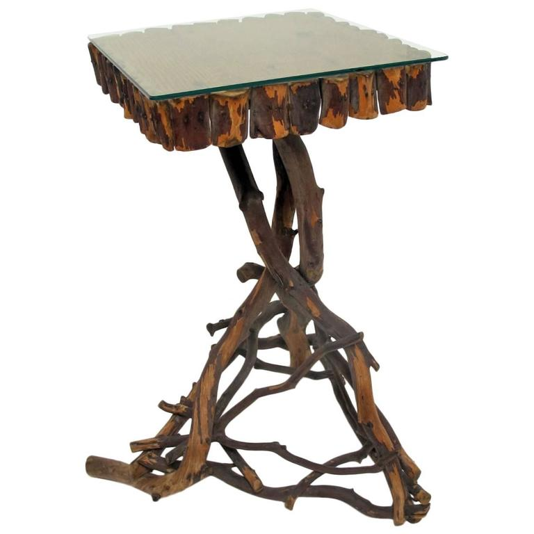 Rustic Three Legged Twig Accent Table At 1stdibs