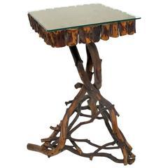 Rustic Three-Legged Twig Accent Table