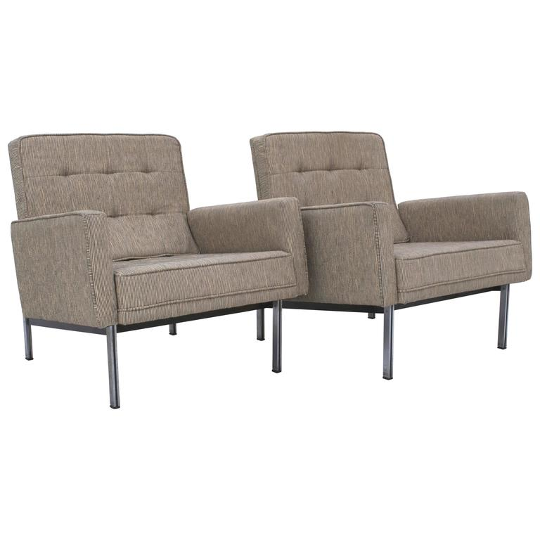 pair of florence knoll parallel bar lounge chairs for sale
