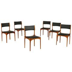 Group of Six Maple and Foam Chairs by Giuseppe Gibelli Leatherette Sormani 1960s