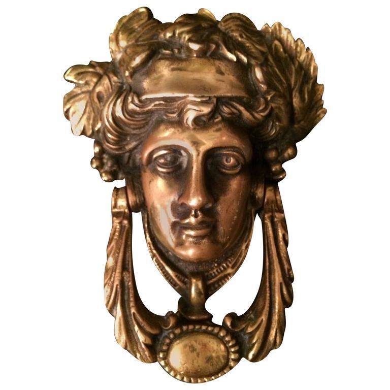 Vintage Solid Brass Female Door Knocker Made In England For Sale