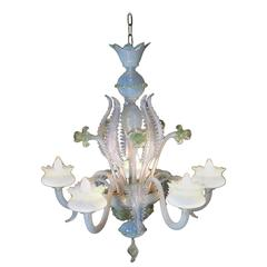 Venetian Five Arms Chandelier with Opalescent Leaves and Green Crystal Flowers
