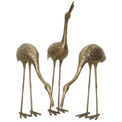 Set of Three Extraordinary Huge Brass Flamingos or Cranes