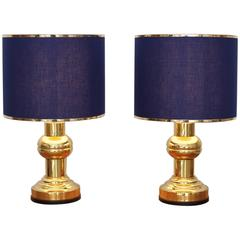 Set of Two Art Deco Style Table Lamps in Brass with Dark Blue Shades