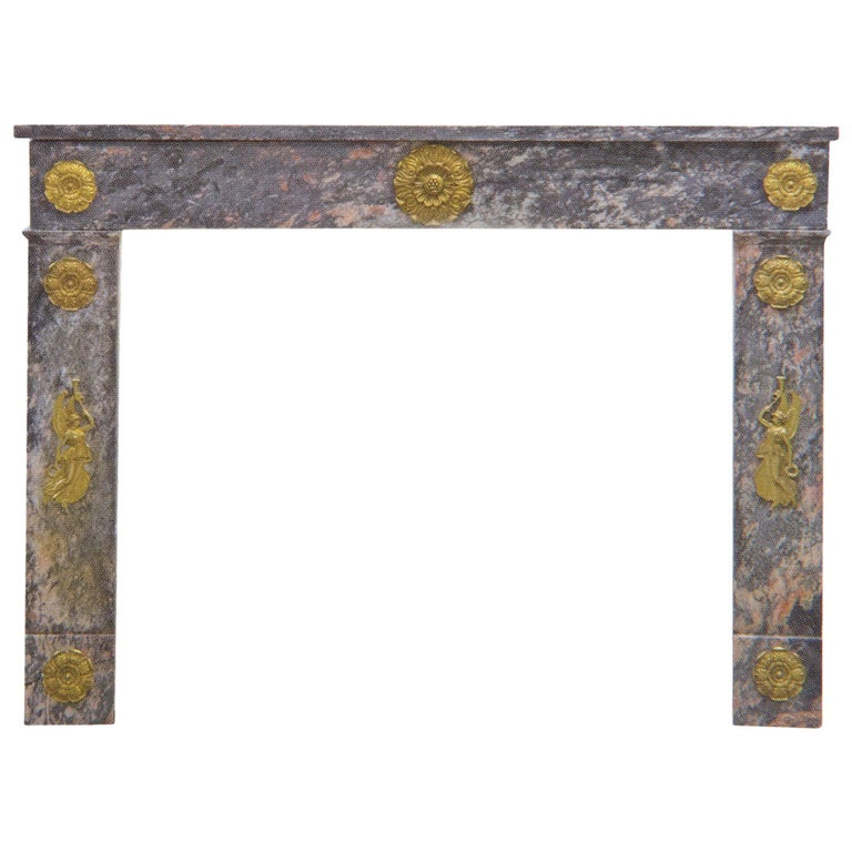 Antique Charles X Marble Fireplace with Important Gilt Bronze Angels Friezes For Sale