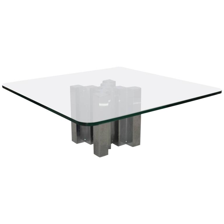 Huge and Massive Chrome and Glass Coffee Table Attributed to Willy Rizzo