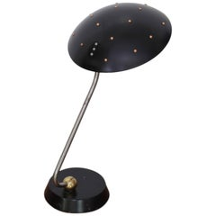 Huge Black Table Lamp with Chrome, Copper and Brass Details