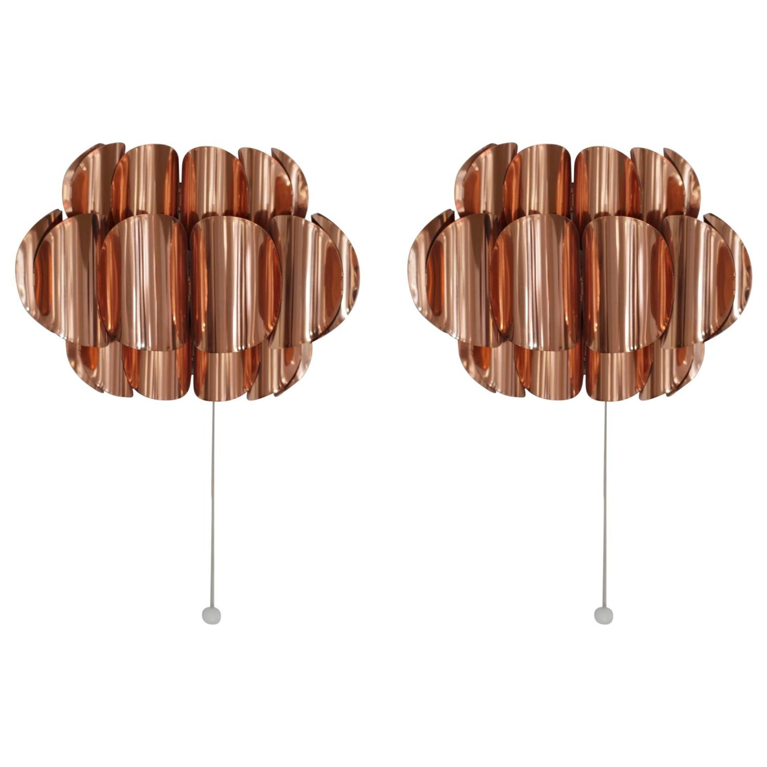 Copper Effect Wall Lights : Pair of Copper Sconces or Wall Lights by Hans Agne Jakobsson at 1stdibs