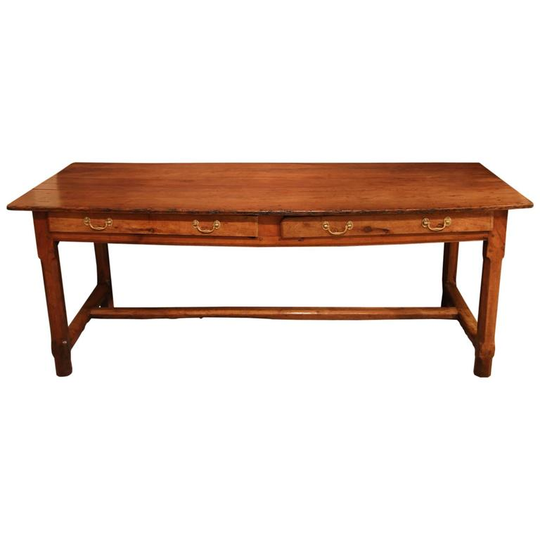 Early 19th Century Cherrywood French Farmhouse Table For Sale at 1stdibs
