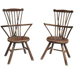 Pair of Round Seated Windsor Chairs