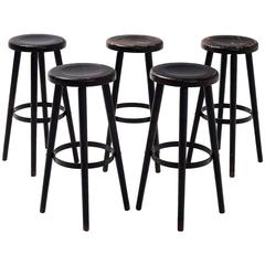 Set of Five Solid Beech Bar Stools
