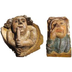 Pair of Corbels with Audacious Subjects from the Middle Ages