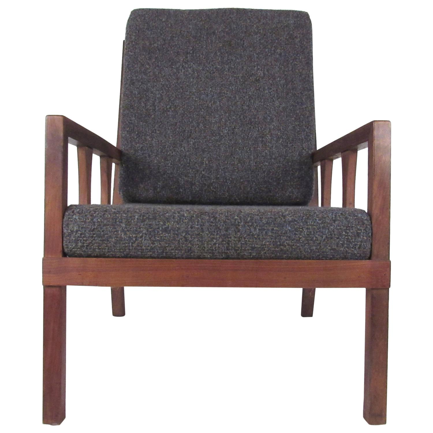 mid century modern walnut lounge chair for sale at 1stdibs