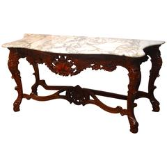 Louis XV Rococo Style Marble-Top Console Table