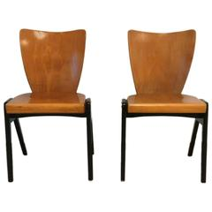 Pair of Modern Mid-Century Wooden Chairs in the Style of Roland Rainer
