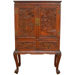 Chinese Highly Carved Liquor Cabinet on Stand