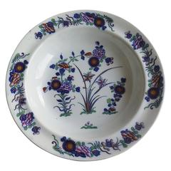 Georgian, Spode Bowl or Soup Plate, Pearlware Chinese Flowers Patn. Ca.1820