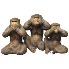 Antique Japanese Carved Wood Okimono of the Three Wise Monkeys