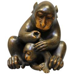 Antique Japanese Carved Wood Okimono of Mother and Baby Monkeys