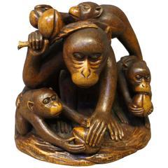 Antique Japanese Carved Wood Okimono of Five Monkeys Eating Peaches