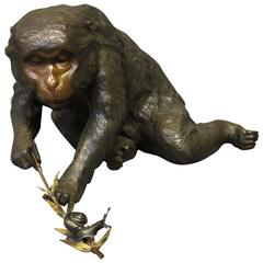 Charming Antique Japanese Bronze of a Monkey Playing with a Snail