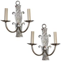 Silver Leaf Iron Sconces