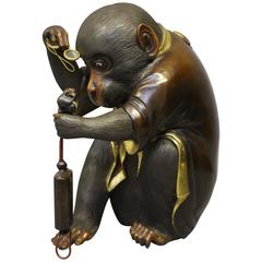 Antique Japanese Bronze of a Monkey with a Pair of Glasses