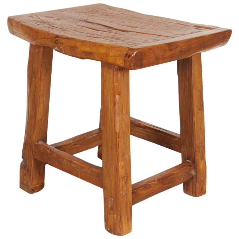 Large Rustic Stool/ Side Table For Sale
