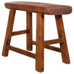 Large Antique Stool with Thick Seat