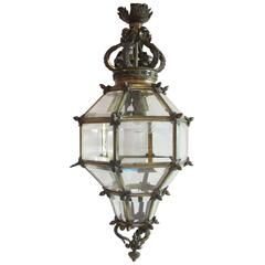 Late 19th Century Bronze and Glass 'Versailles' Hall Lantern