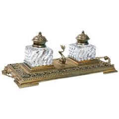 19th Century Crystal Inkwells in Brass Tray with Sturgeon Stamp Holder