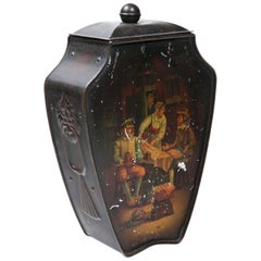 Hand-Painted English Biscuit Tin by Huntley Palme, 1909