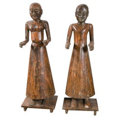 Vintage Pair of Early 20th Century Carved Wood Statues