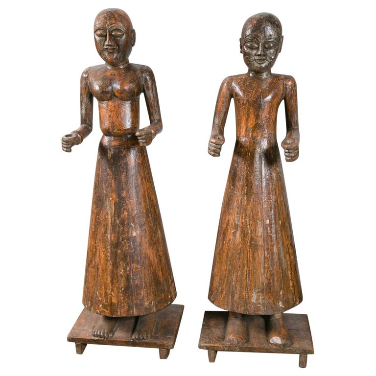 Vintage Pair of Early 20th Century Carved Wood Statues For Sale