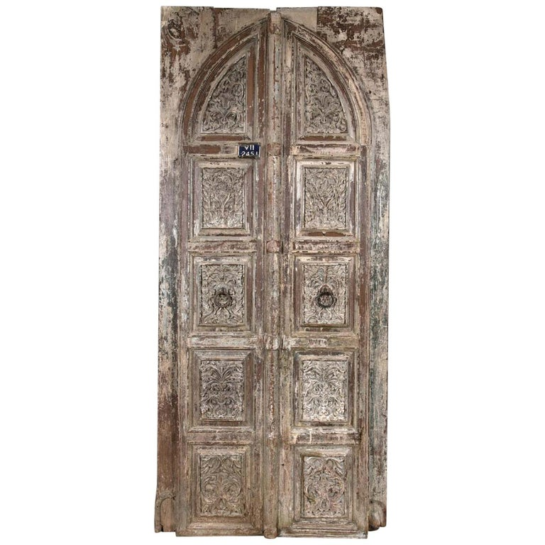 Vintage Set of 20th Century Unique Carved Doors For Sale