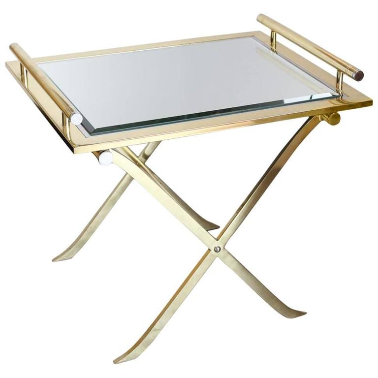 Chrome brass and mirror x base side bar table with for Tray side table