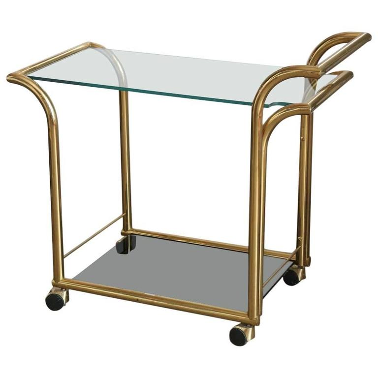 Mid Century Modern Art Deco Inspired Two Tier Brass and Glass Bar Cart by DIA
