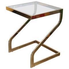 "Mid Century Modern Design Institute America ""Z"" Brass & Glass Side Table"