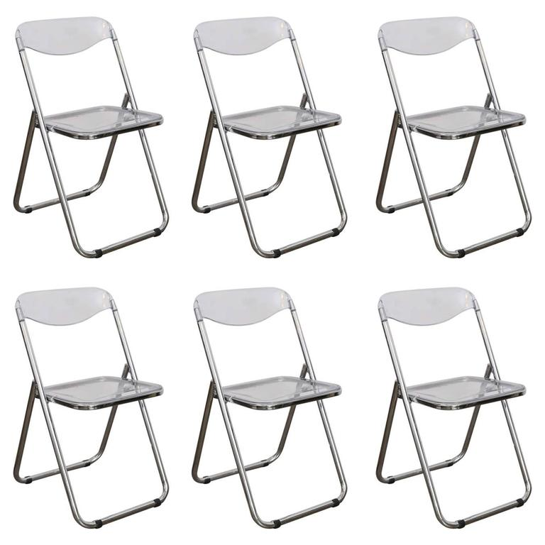 Set Of Six Mid Century Modern Lucite U0026 Chrome Folding Chairs