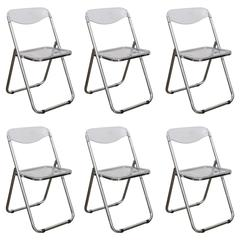 Set of Six Mid Century Modern Lucite & Chrome Folding Chairs