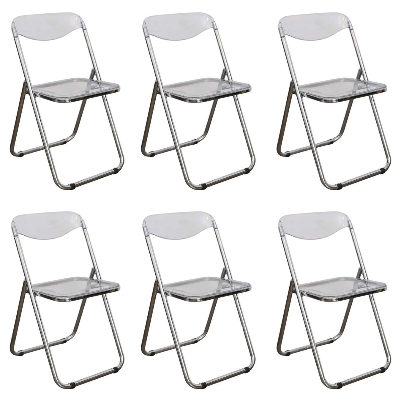 Set of Six Lucite Folding Chairs For Sale at 1stdibs