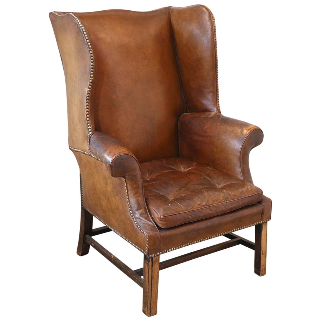 Incroyable French Leather Wingback Chair From The 1920s At 1stdibs