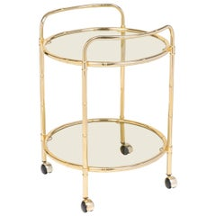 Mid-Century French Brass Faux Bamboo Maison Baguès Bar Cart