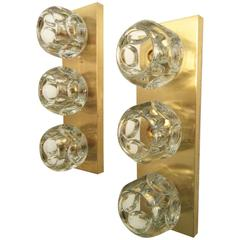 Pair of Vintage Brass with Faceted Crystal Ball Light Fixtures