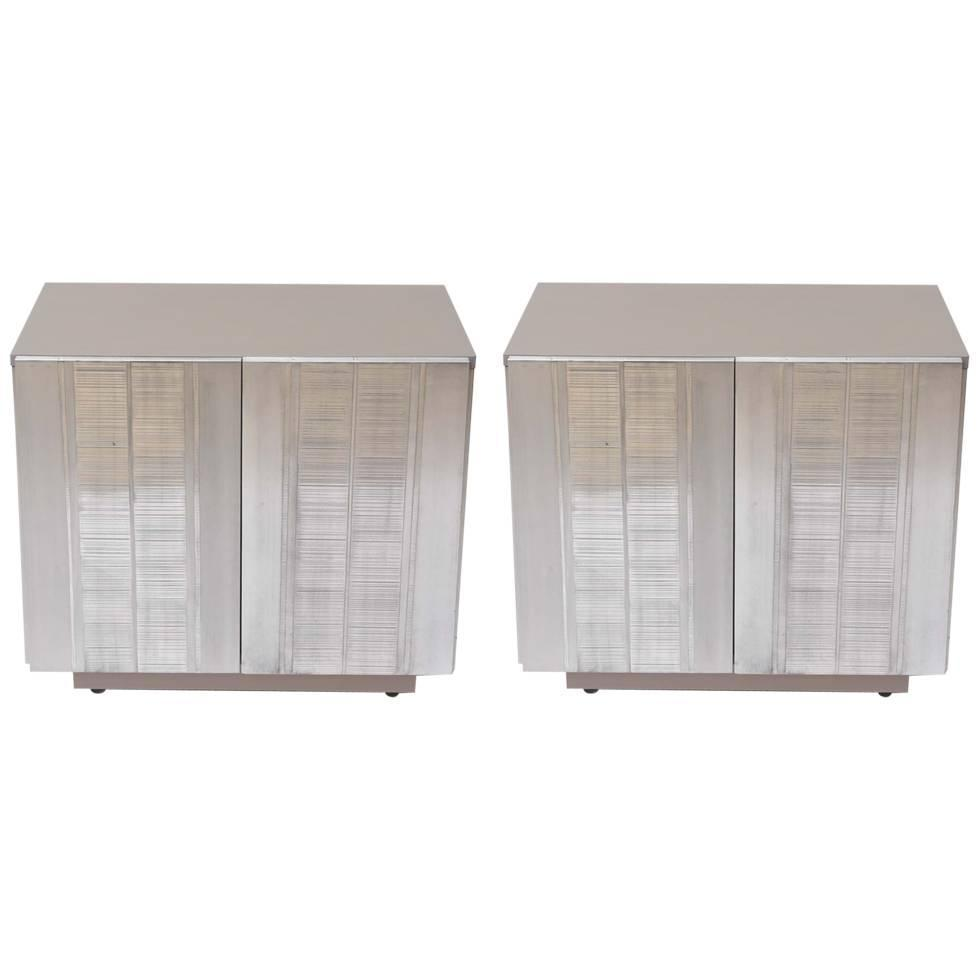 Pair Of Gray Washed Oak Nightstands With Textured Aluminium Doors At 1stdibs
