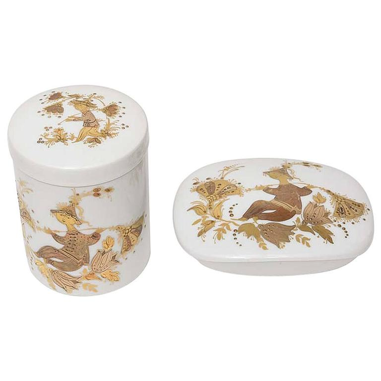 Lidded Box and Canister Dresser Set by Bjorn Wiinblad for Rosenthal