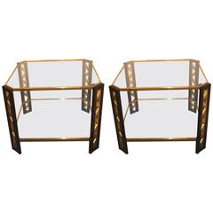 Pair of Large Belgium Side Tables, 1970s
